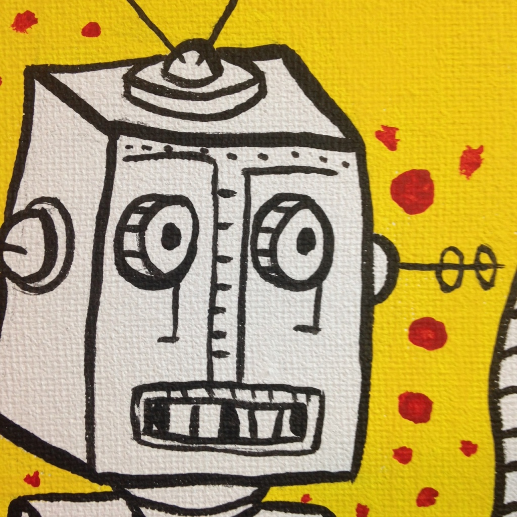 Close-Up 1 Robot Vs. Cyclops- Tribute to Mark Mothersbaugh Linda Cleary 2014 Acrylic on Canvas