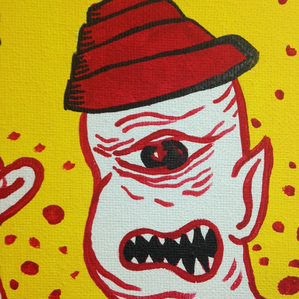 Close-Up 2 Robot Vs. Cyclops- Tribute to Mark Mothersbaugh Linda Cleary 2014 Acrylic on Canvas
