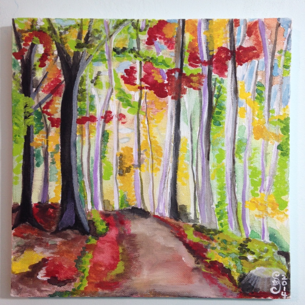 Autumn Forest- Tribute to Wolf Kahn Linda Cleary 2014 Watercolor & Acrylic on Canvas