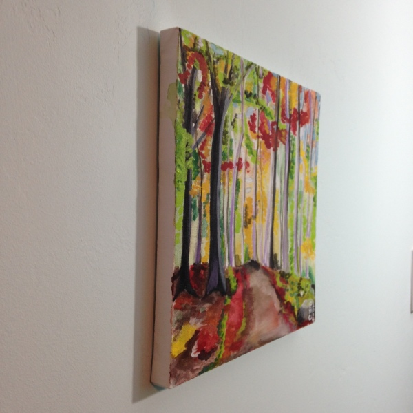 Side-View Autumn Forest- Tribute to Wolf Kahn Linda Cleary 2014 Watercolor & Acrylic on Canvas