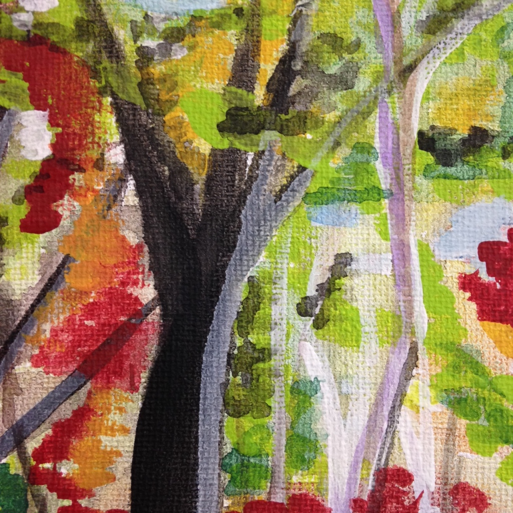 Close-Up 1 Autumn Forest- Tribute to Wolf Kahn Linda Cleary 2014 Watercolor & Acrylic on Canvas