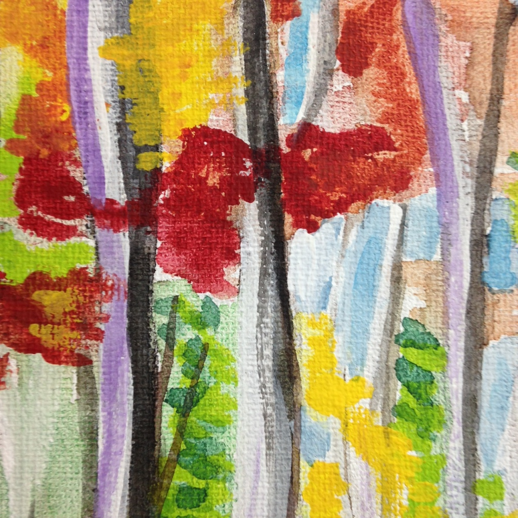Close-Up 2 Autumn Forest- Tribute to Wolf Kahn Linda Cleary 2014 Watercolor & Acrylic on Canvas