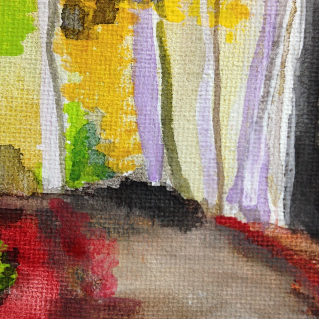 Close-Up 3 Autumn Forest- Tribute to Wolf Kahn Linda Cleary 2014 Watercolor & Acrylic on Canvas
