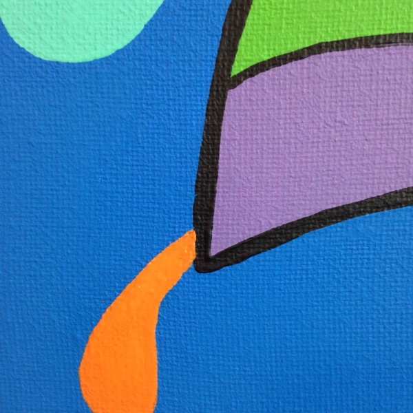 Close-Up 1 Oh My- Tribute to KAWS Linda Cleary 2014 Acrylic on Canvas