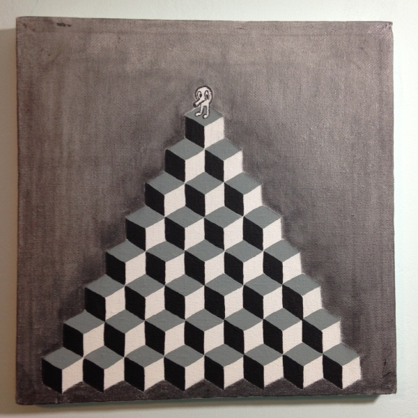 Q-Bert- Tribute to M.C. Escher Linda Cleary 2014 Acrylic and Graphite on Canvas