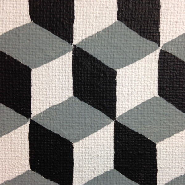 Close-Up 2 Q-Bert- Tribute to M.C. Escher Linda Cleary 2014 Acrylic and Graphite on Canvas