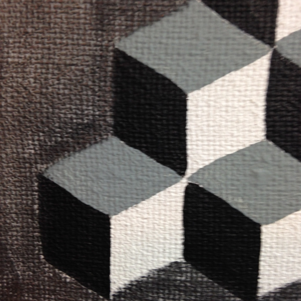 Close-Up 3 Q-Bert- Tribute to M.C. Escher Linda Cleary 2014 Acrylic and Graphite on Canvas