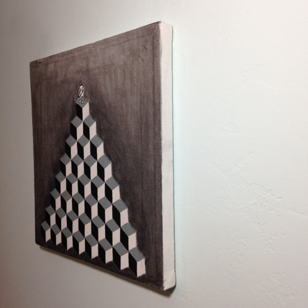 Side-View Q-Bert- Tribute to M.C. Escher Linda Cleary 2014 Acrylic and Graphite on Canvas