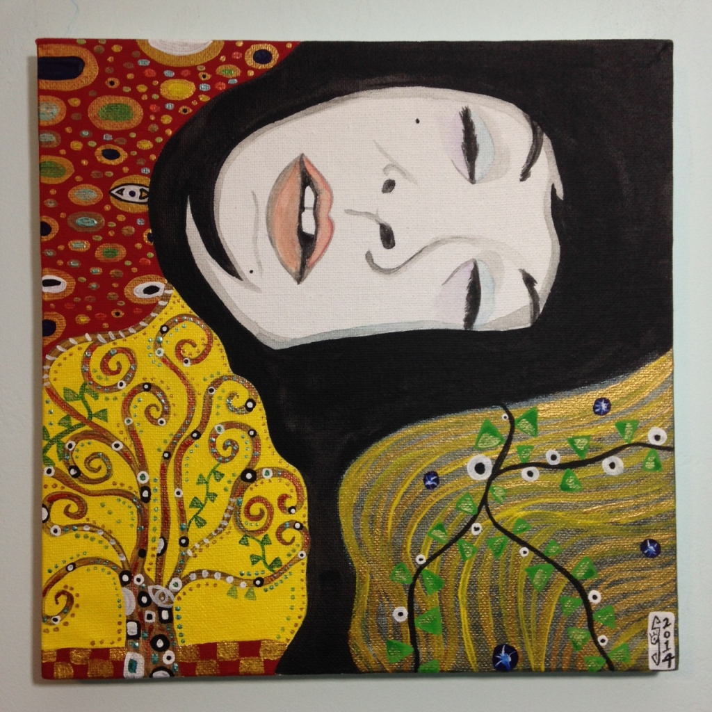 The Nap- Tribute to Gustav Klimt Linda Cleary 2014 Acrylic & Metallic Paint of Canvas