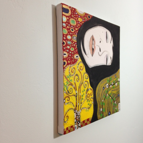 Side-View The Nap- Tribute to Gustav Klimt Linda Cleary 2014 Acrylic & Metallic Paint of Canvas