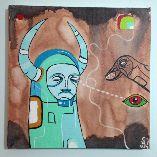 Eye Contact- Tribute to Doze Green Linda Cleary 2014 Ink & Acrylic on Canvas