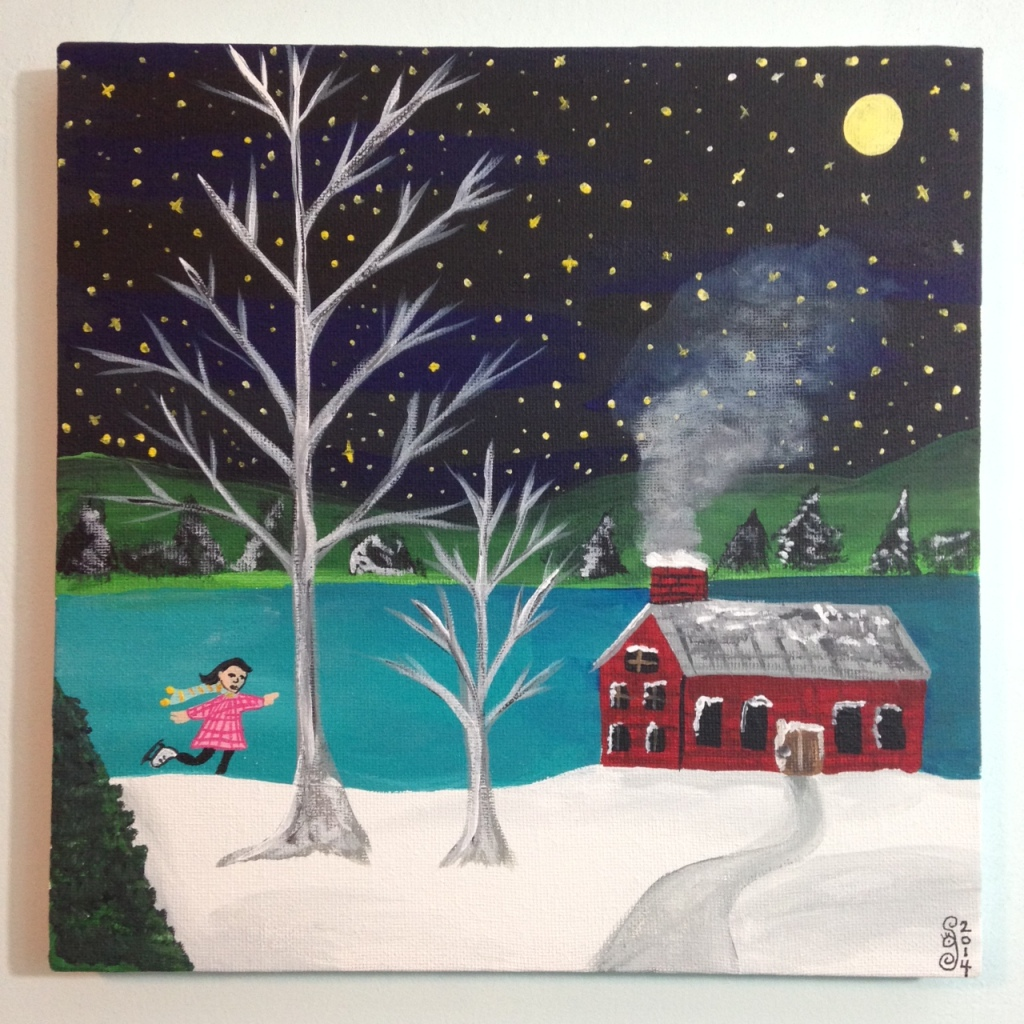 Next Year's Around the Corner- Tribute to Grandma Moses Linda Cleary 2014 Acrylic on Canvas