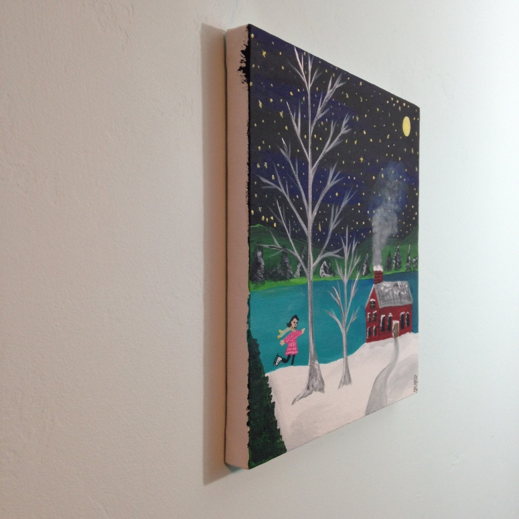 Side-View Next Year's Around the Corner- Tribute to Grandma Moses Linda Cleary 2014 Acrylic on Canvas