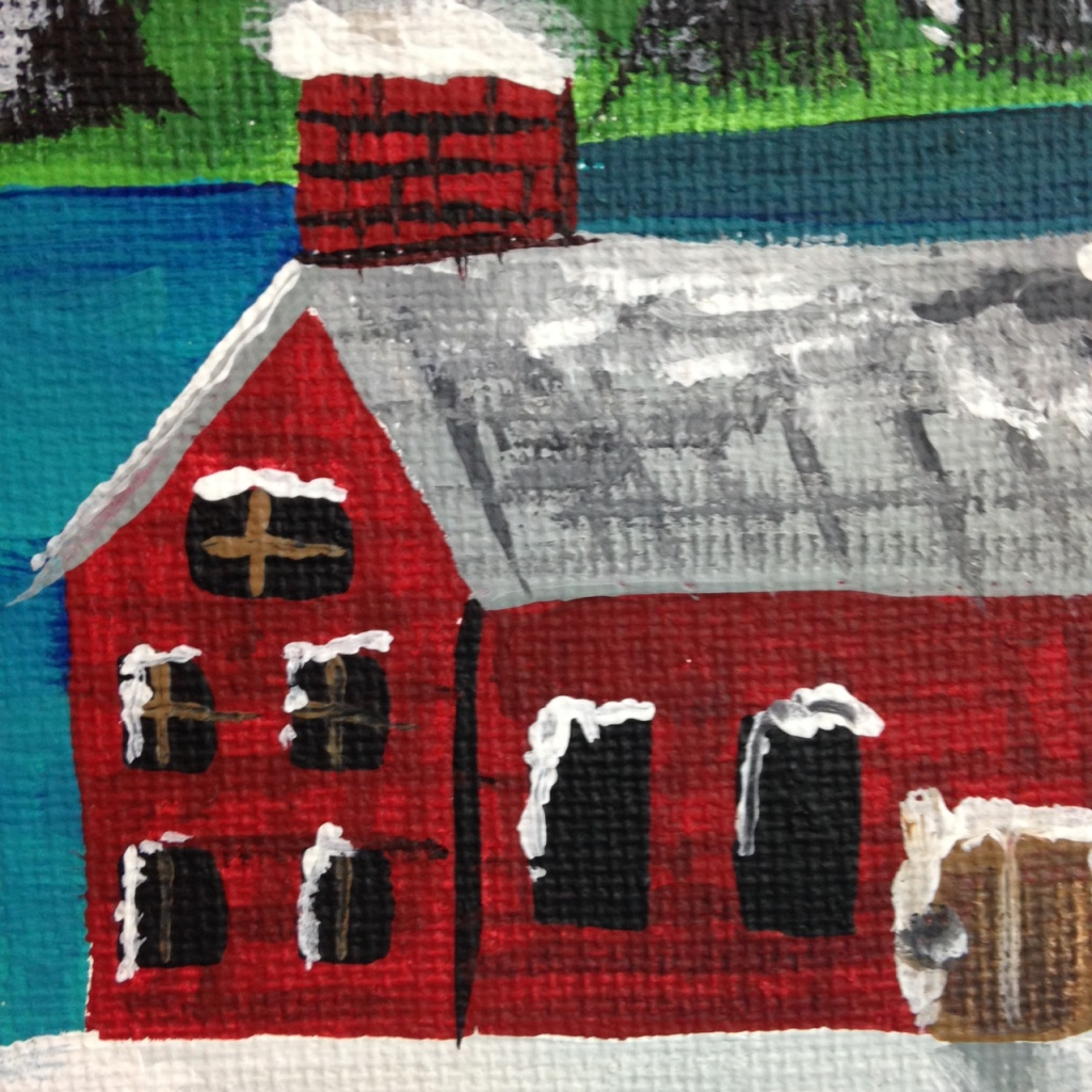 Close-Up 2 Next Year's Around the Corner- Tribute to Grandma Moses Linda Cleary 2014 Acrylic on Canvas