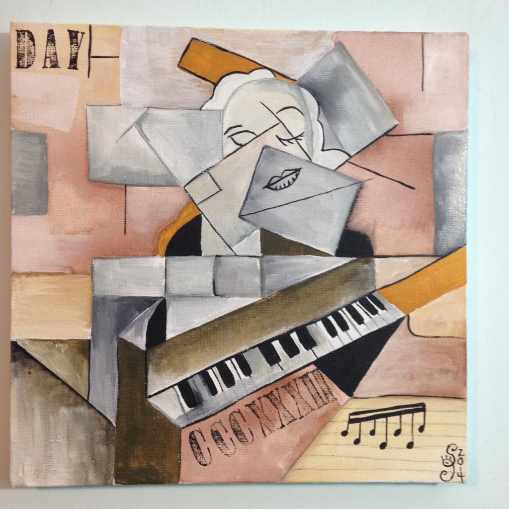 Woman at a Piano- Tribute to Georges Braque Linda Cleary 2014 Acrylic and Ink on Canvas