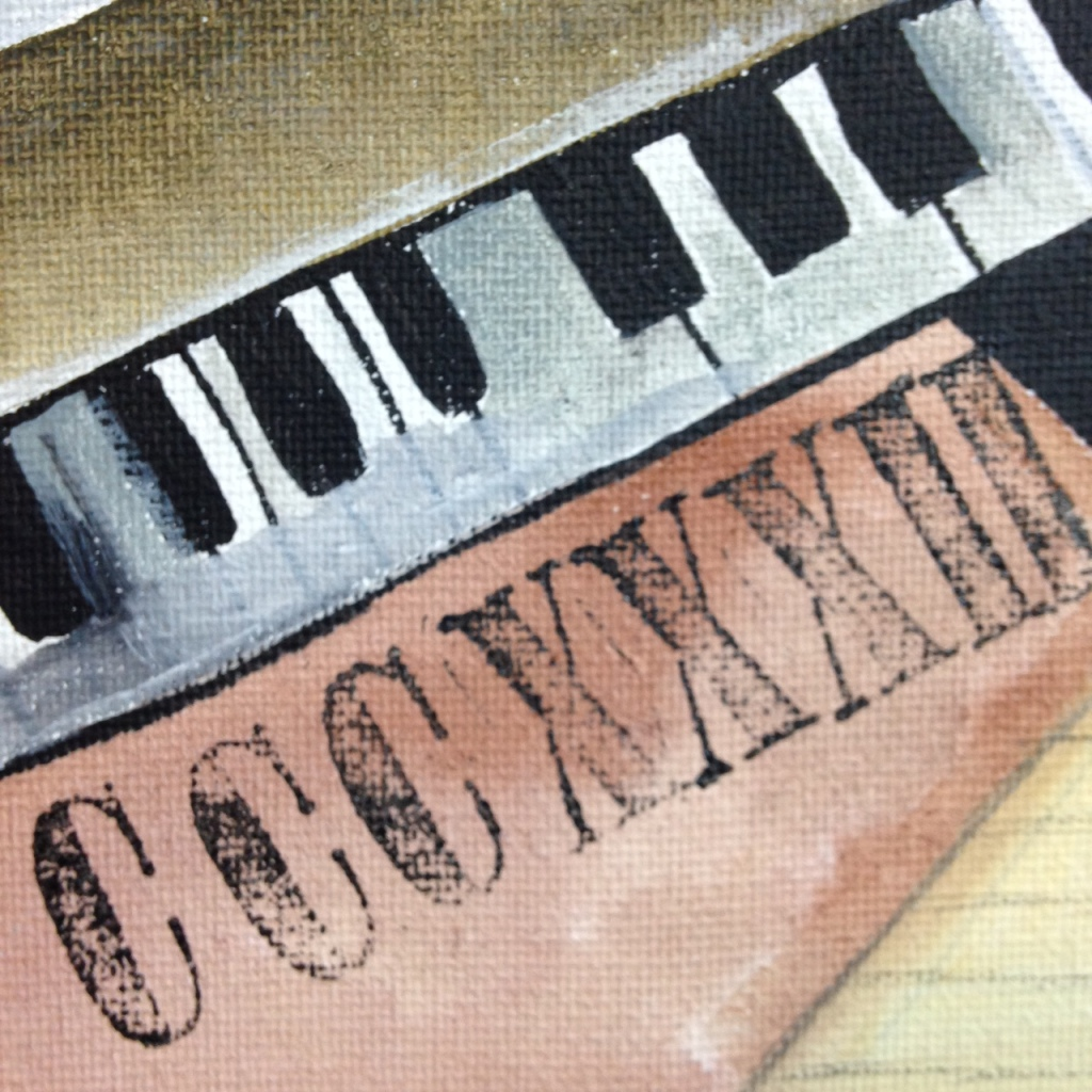 Close-Up 2 Woman at a Piano- Tribute to Georges Braque Linda Cleary 2014 Acrylic and Ink on Canvas