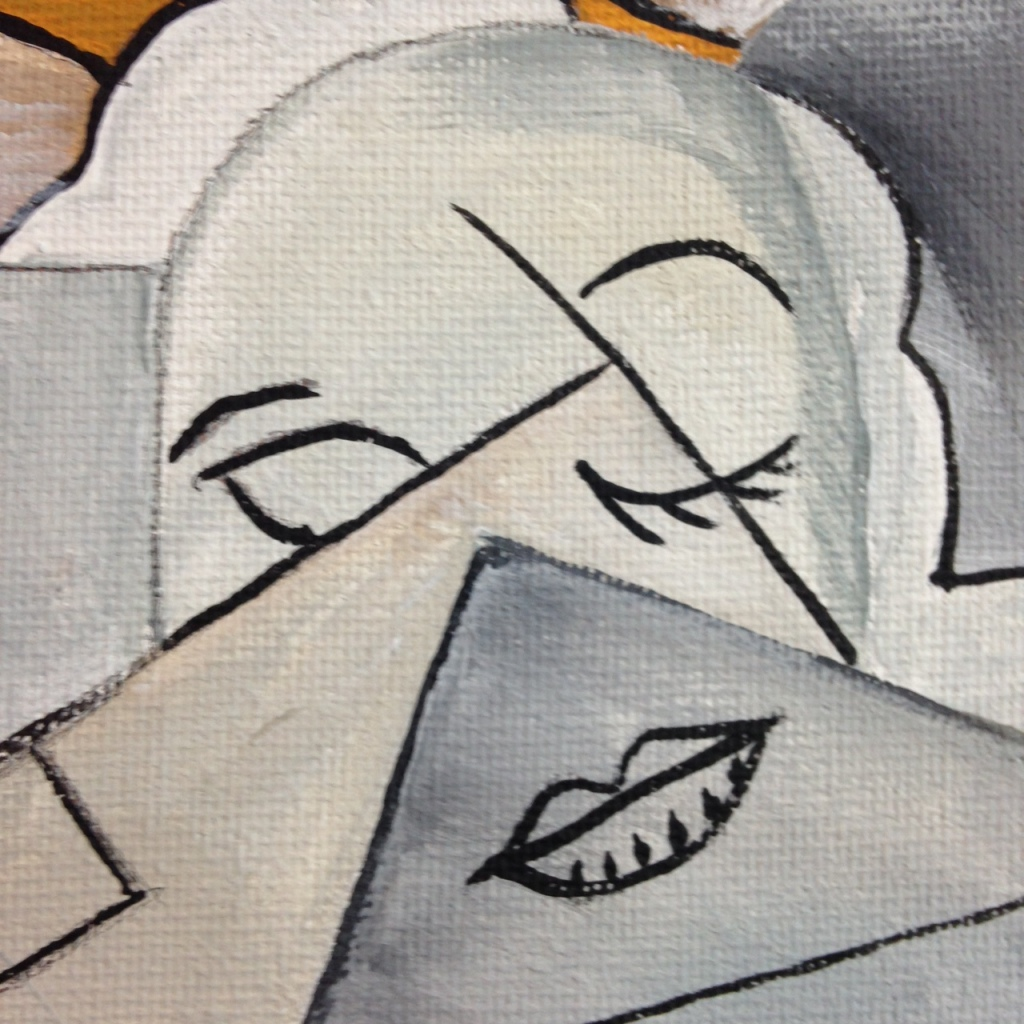 Close-Up 3 Woman at a Piano- Tribute to Georges Braque Linda Cleary 2014 Acrylic and Ink on Canvas