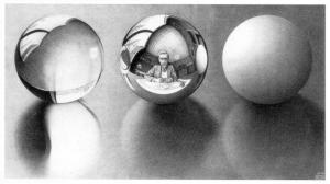 3 Spheres II- M.C. Escher