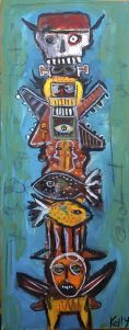 """Dead Cowboy Totem"" by New Mexico flea market artist Kelly Moore"