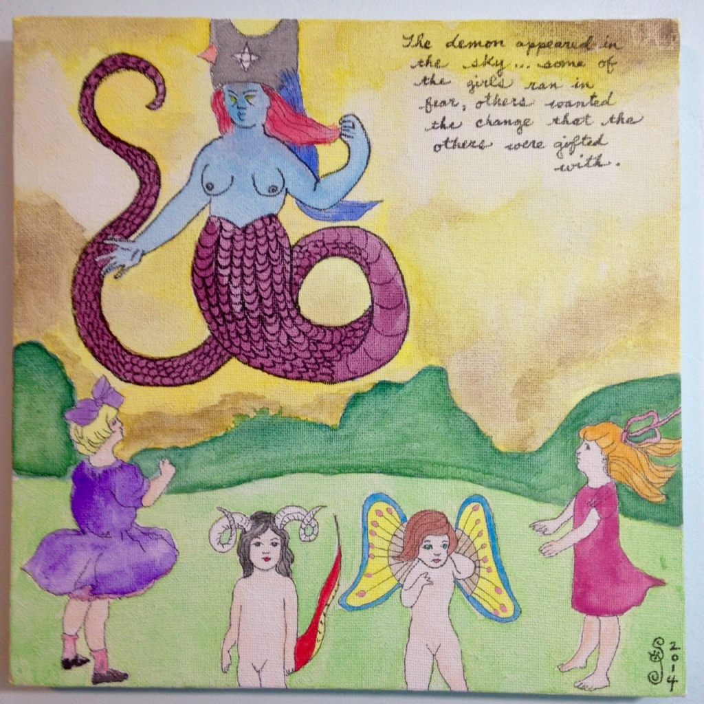Sky Demon- Tribute to Henry Darger Jr. Linda Cleary 2014 Watercolor & Ink on Canvas
