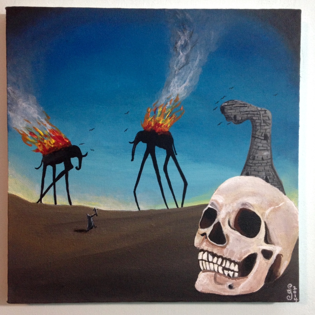 The Burning Elephants- Tribute to Salvador Dali Linda Cleary 2014 Acrylic on Canvas