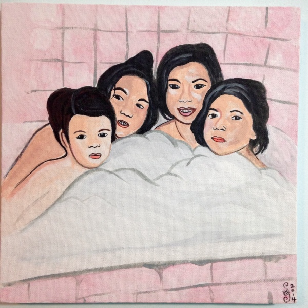 Bath Time!- Tribute to Alice Neel Linda Cleary 2014 Acrylic & Watercolor on Canvas