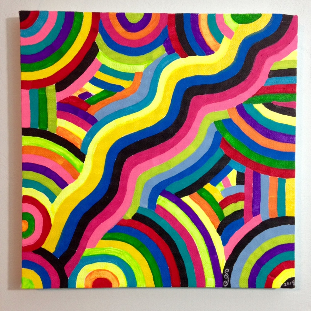 Laberinto del Arco Iris- Tribute to Marta Minujin Linda Cleary 2014 Acrylic on Canvas