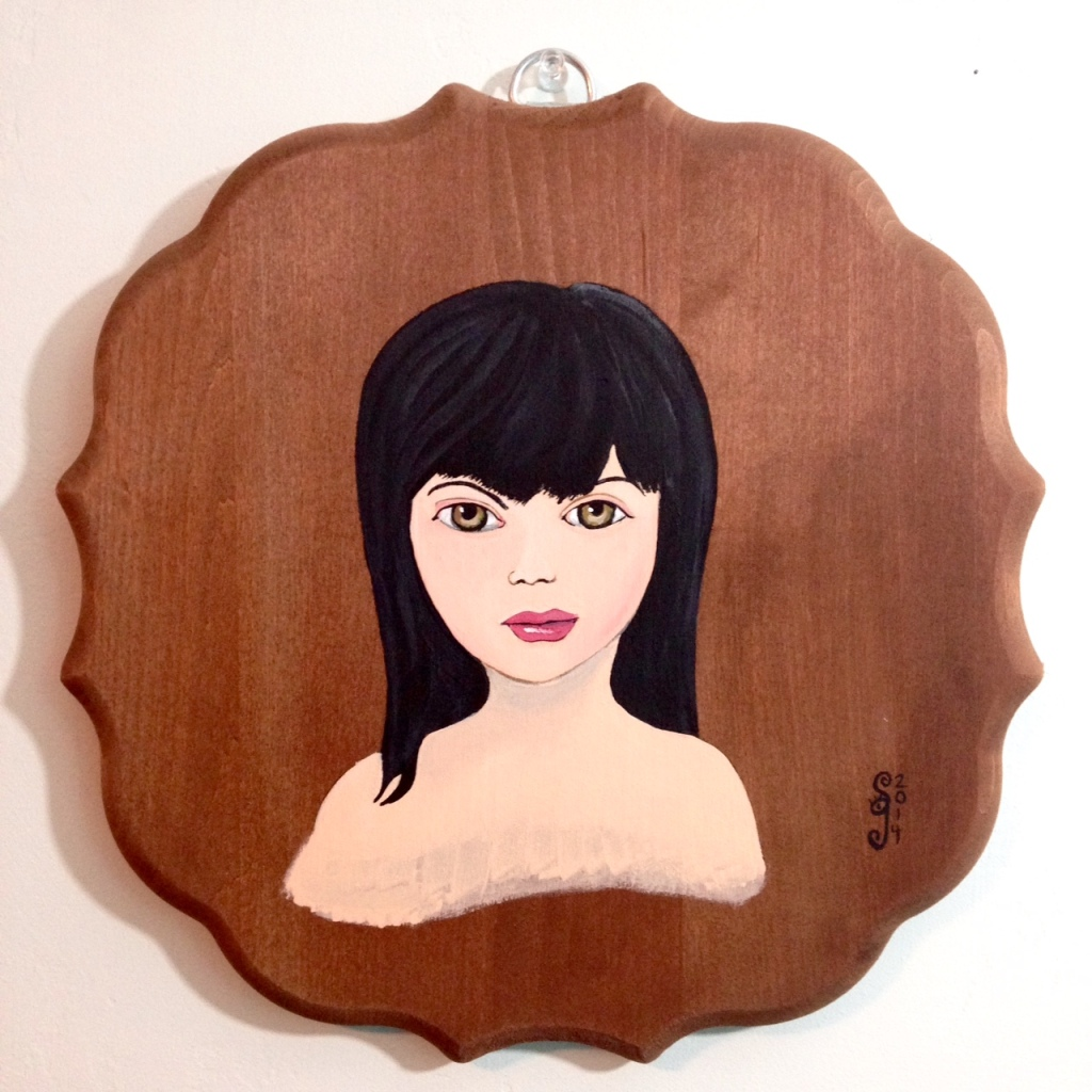 Self-Portrait- Tribute to Mark Ryden Linda Cleary 2014 Acrylic on Wood Panel