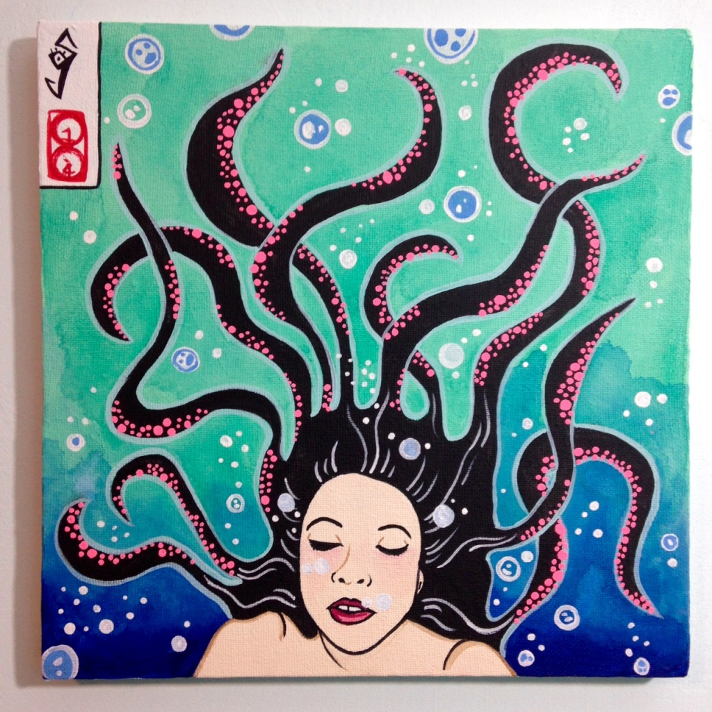 セルフポートレート- Tribute to Yuko Shimizu Linda Cleary 2014 Acrylic on Canvas