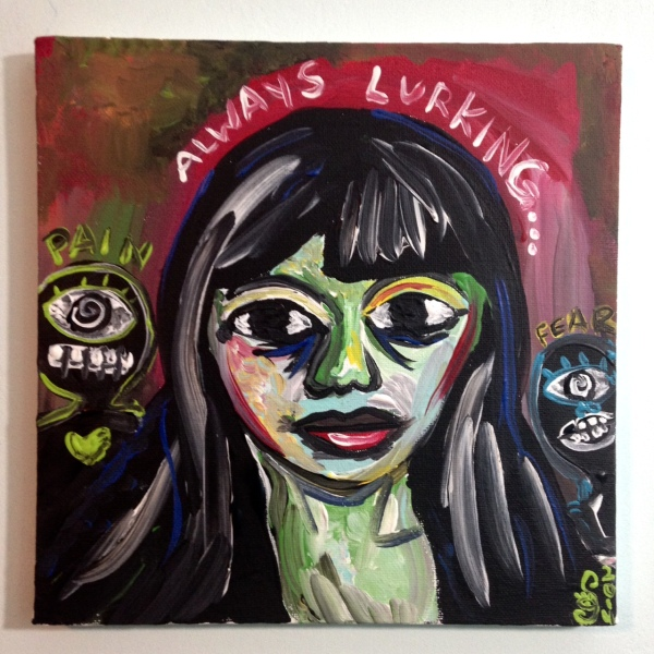 Always Lurking...-Tribute to Len Jessome Linda Cleary 2014 Acrylic on Canvas