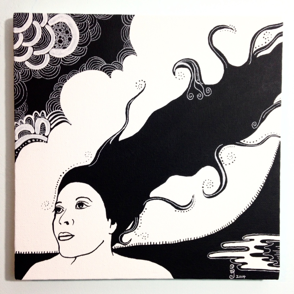 Self-Portrait- Tribute to Aubrey Beardsley  Linda Cleary 2014 Acrylic and Pen on Canvas