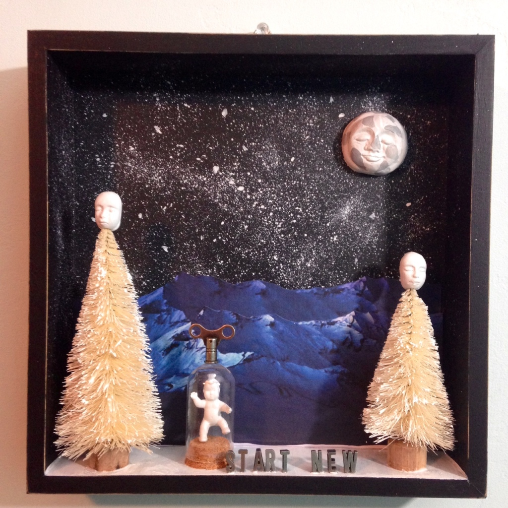 Start New- Tribute to Joseph Cornell Linda Cleary 2014 Mixed-Media in a Shadow Box