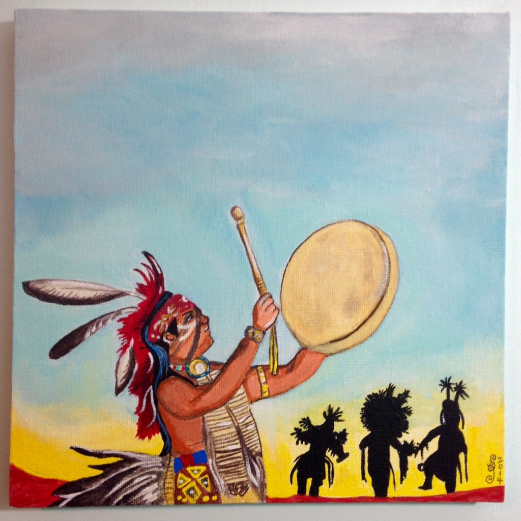 Navajo Dancers- Tribute to Robert Yellowhair Linda Cleary 2014 Acrylic on Canvas