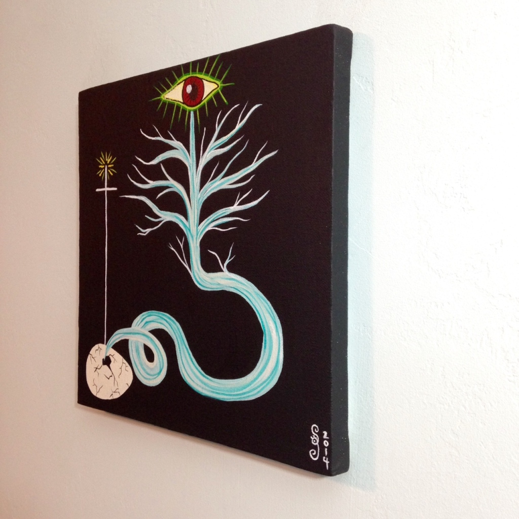 Side-View The Rebirth of Yggdrasil- Tribute to Daniel Higgs Linda Cleary 2014 Acrylic on Canvas