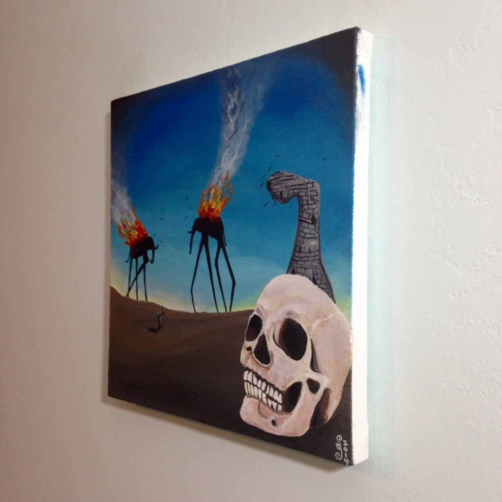 Side-View The Burning Elephants- Tribute to Salvador Dali Linda Cleary 2014 Acrylic on Canvas