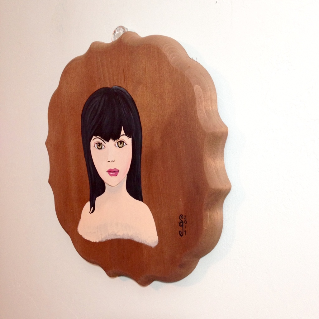 Side-VIew Self-Portrait- Tribute to Mark Ryden Linda Cleary 2014 Acrylic on Wood Panel