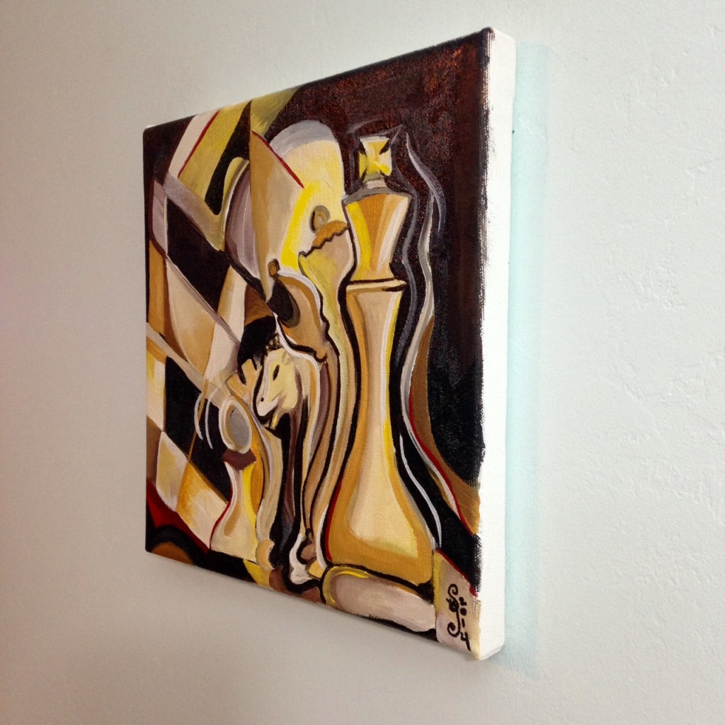 Side-View Strategy- Tribute to Marcel Duchamp Linda Cleary 2014 Acrylic & Crackle paint on Canvas