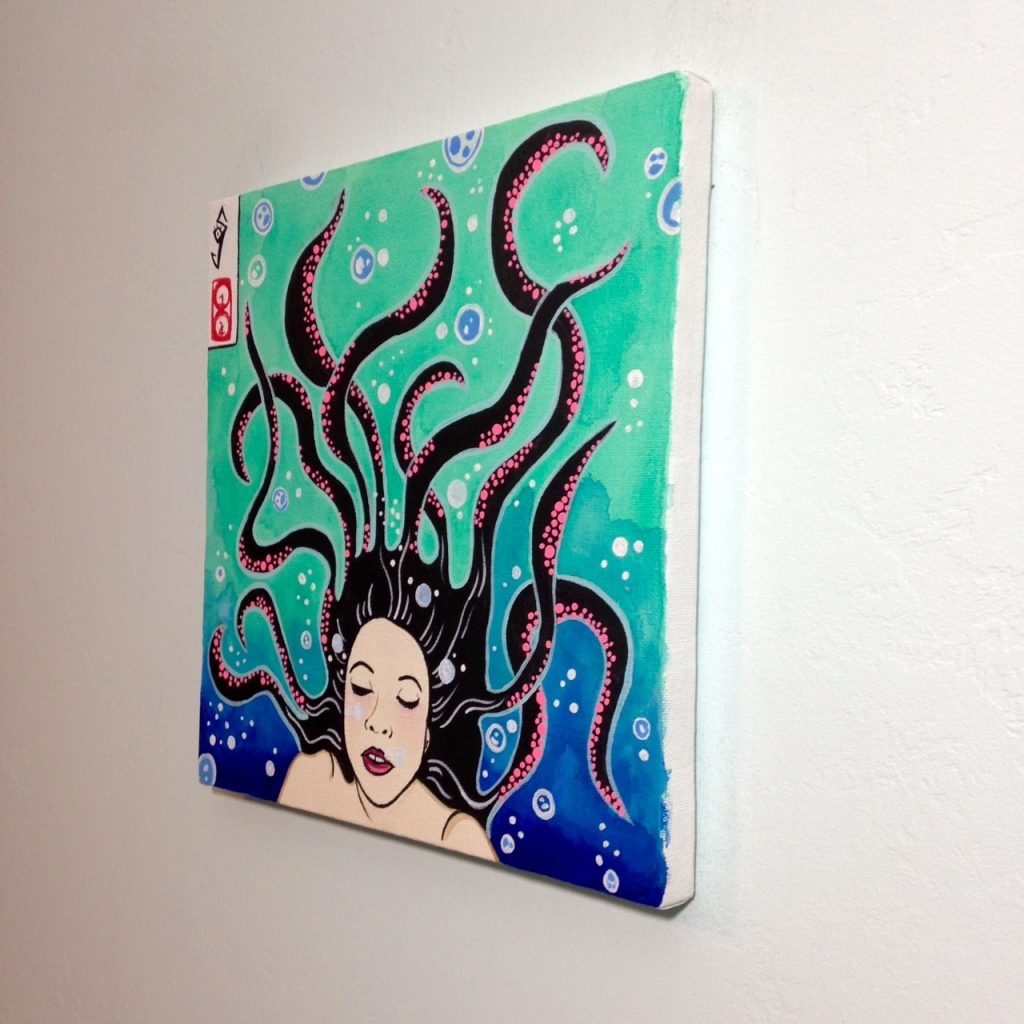 Side-View セルフポートレート- Tribute to Yuko Shimizu Linda Cleary 2014 Acrylic on Canvas