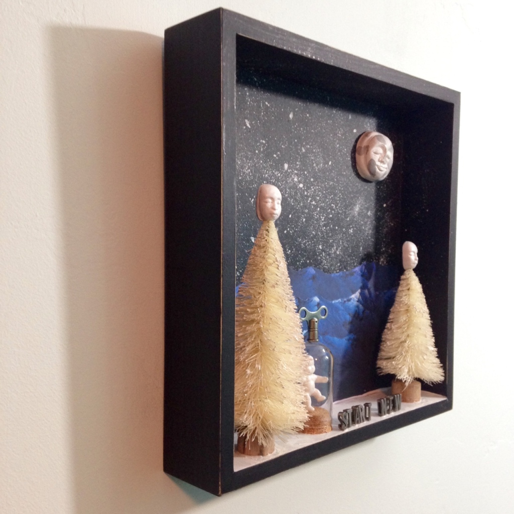 Side-View Start New- Tribute to Joseph Cornell Linda Cleary 2014 Mixed-Media in a Shadow Box