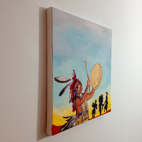 Side-View Navajo Dancers- Tribute to Robert Yellowhair Linda Cleary 2014 Acrylic on Canvas