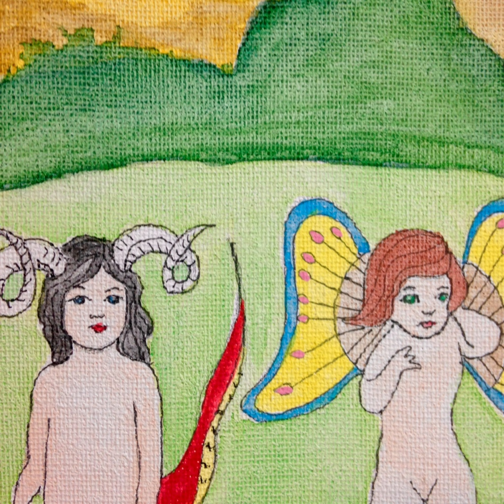 Close-Up 1 Sky Demon- Tribute to Henry Darger Jr. Linda Cleary 2014 Watercolor & Ink on Canvas