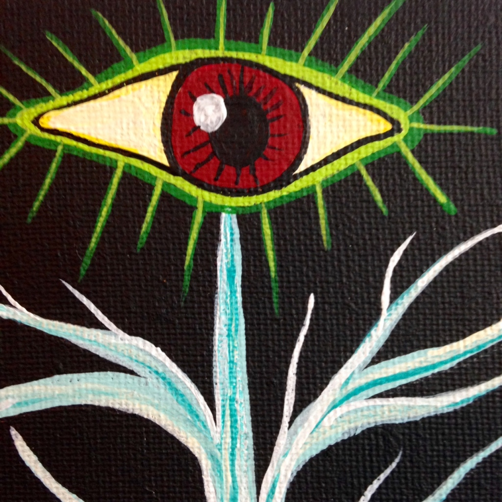 Close-Up 3 The Rebirth of Yggdrasil- Tribute to Daniel Higgs Linda Cleary 2014 Acrylic on Canvas