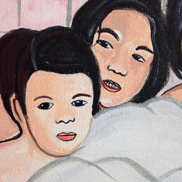 Close-Up 1 Bath Time!- Tribute to Alice Neel Linda Cleary 2014 Acrylic & Watercolor on Canvas