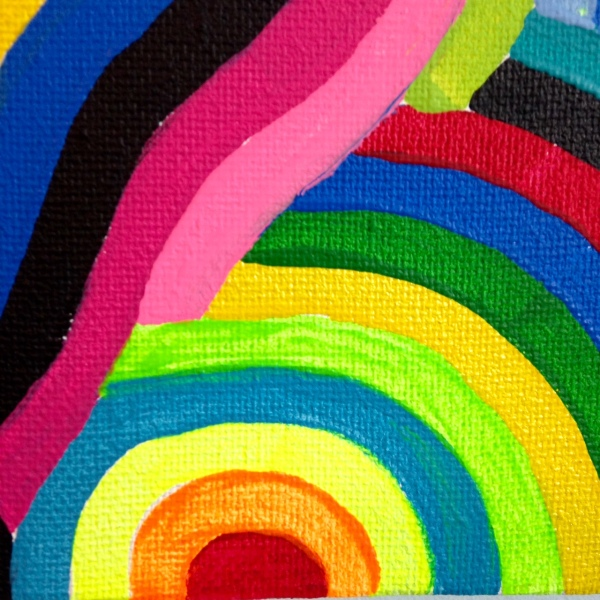 Close-Up 3 Laberinto del Arco Iris- Tribute to Marta Minujin Linda Cleary 2014 Acrylic on Canvas
