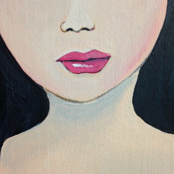 Close-Up 3 Self-Portrait- Tribute to Mark Ryden Linda Cleary 2014 Acrylic on Wood Panel