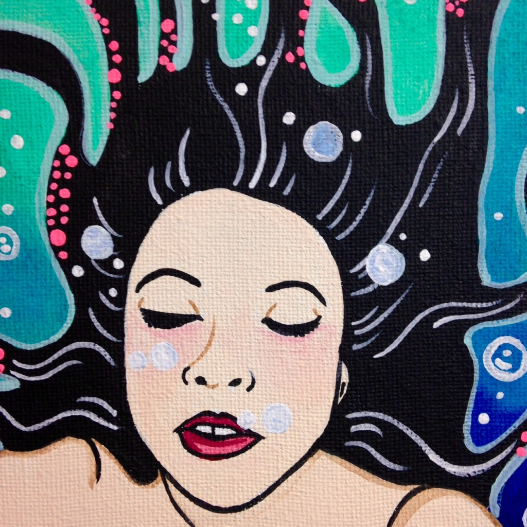 Close-Up 3 セルフポートレート- Tribute to Yuko Shimizu Linda Cleary 2014 Acrylic on Canvas