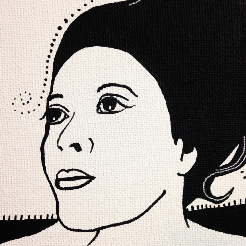 Close-Up 3 Self-Portrait- Tribute to Aubrey Beardsley  Linda Cleary 2014 Acrylic and Pen on Canvas