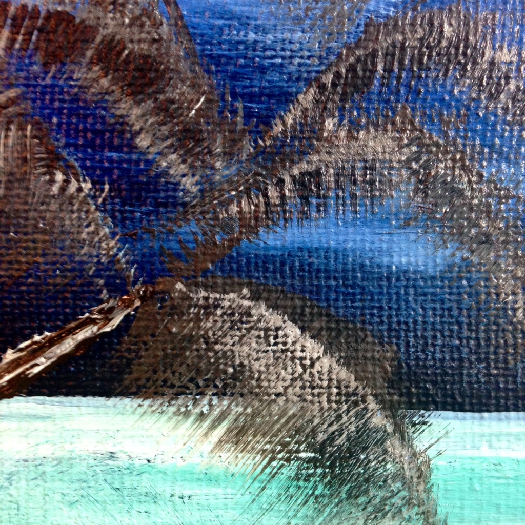 Close-Up 3 Wish I Was There- Tribute to Bob Ross Linda Cleary 2014 Oil, Acrylic on Canvas