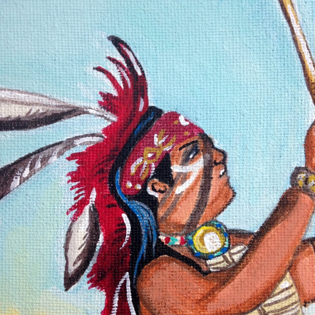 Close-Up 1 Navajo Dancers- Tribute to Robert Yellowhair Linda Cleary 2014 Acrylic on Canvas