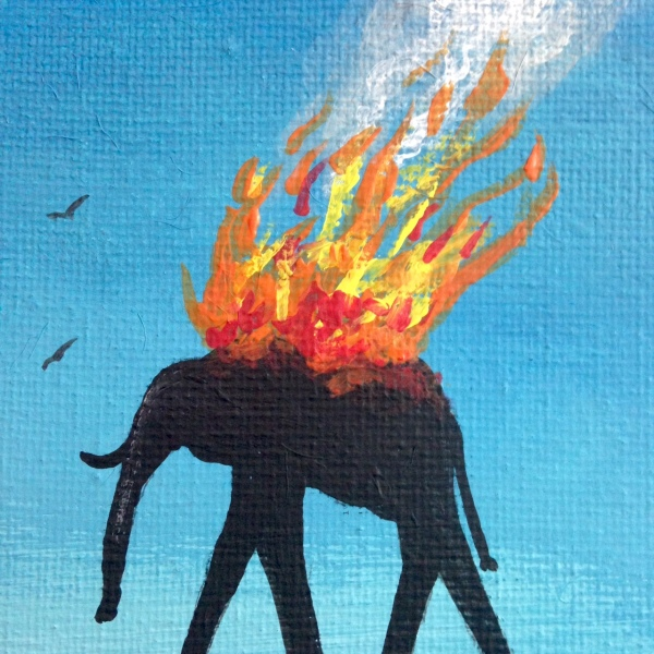 Close-Up 3 The Burning Elephants- Tribute to Salvador Dali Linda Cleary 2014 Acrylic on Canvas